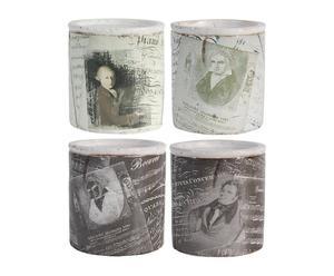 4 Photophores Céramique et cire, Noir et blanc -  Ø11