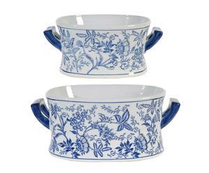 2 Plats, Céramique - Bleu et blanc