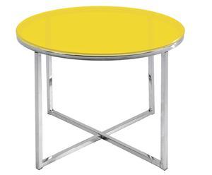 Table d'appoint Tylor métal et verre, Jaune - Ø55