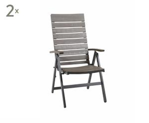 2 Chaises Lia, aluminium et bois - L70