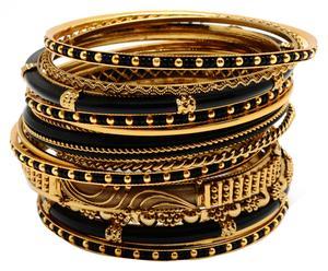 18 Bracelets Bangle Nello, Doré et noir - L7