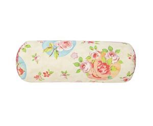 Traversin fleur coton, Beige et rose – L50