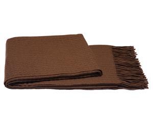 Plaid laine et cachemire côtelé, Marron - 127*165
