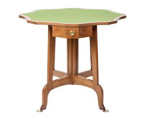 Table de jeu collection Naturel et vert, Acajou et laiton - Ø91