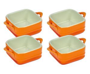 4 Ramequins Porcelaine, Orange - L7