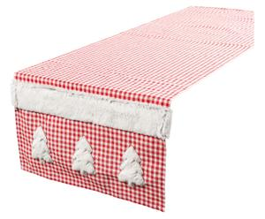 Chemin de table Polyester, Blanc et rouge - 150*40