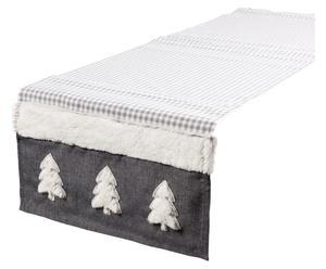 Chemin de table Polyester, Blanc et gris - 150*40