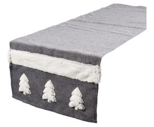 Chemin de table Polyester, Blanc et gris - 220*42