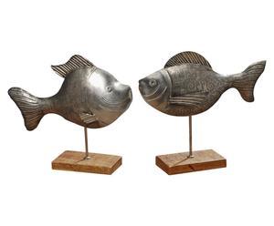 2 Sculptures LEAN Fer et bois, Naturel - L40