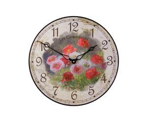Grande horloge COQUELICOTS Bois, Multicolore - Ø36