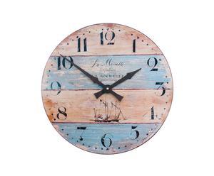 Grande horloge MOUETTE Bois, Bleu ciel et rouge clair - Ø36