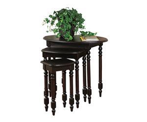 3 Tables gigognes, Bois de pin et MDF - Noir