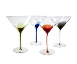 4 Verres à Martini, multicolore - H17