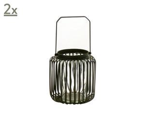 2 Lanternes Métal, Noir - H18