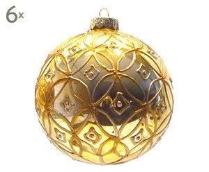 6 Boules de Noël I Verre, Doré - Ø10