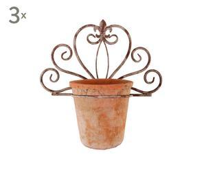 3 Pots et 3 supports, terre cuite et métal - L39