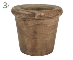 3 Cache-pots, Bois - Ø10
