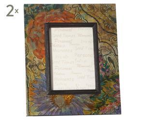 2 Cadres à photo Papier et carton, Multicolore - 24*30
