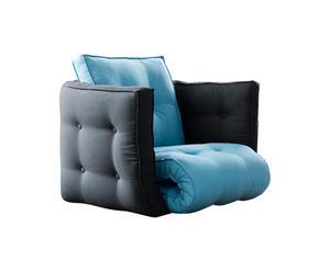 Fauteuil convertible Coton et laine, Bleu et gris - L80