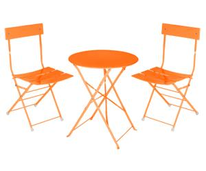 1 Table et 2 chaises Métal, Orange