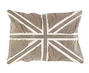 Housse de coussin Union Jack Canvas recyclé, Taupe et blanc - 70*50