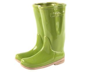 Vase bottes Porcelaine et verre, Vert lime - H30