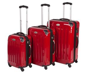 3 Valises chariot Polycarbonate - Rouge
