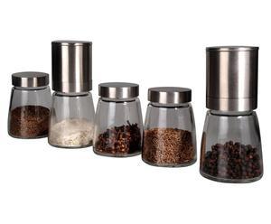 5 Moulins à épices, Inox et verre - Argenté et transparent