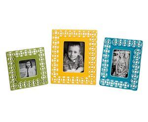 3 Cadre-photos, Céramique - Vert, jaune et bleu