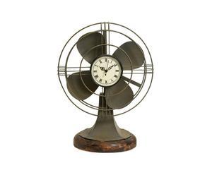 Horloge Ventilateur Fer et pin, Gris - H44
