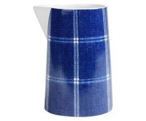 Broc Céramique DENIM CHECK, Bleu et blanc - 800 ml