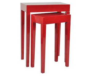 2 Tables gigognes Bois, Rouge