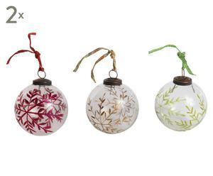 6 Boules de Noël Verre et tissu, Multicolore - Ø10