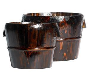 2 Cache-pots Bois, Chocolat