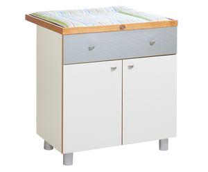 Table à langer pin, blanc et gris - H97