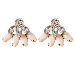 Paire de boucles d'oreilles Tamina, Argenté et beige - L2