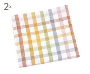 2 Nappes Coton, Multicolore - 90*90