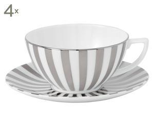 4 Tasses à café et 4 sous-tasses RAYURE Porcelaine, Blanc et gris - Ø9
