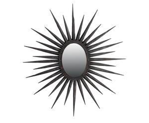 Miroir mural soleil métal, Noir - Ø103
