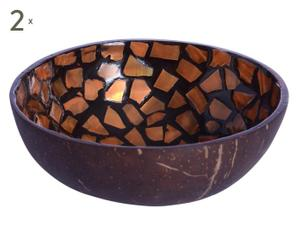 2 Bols décoratifs Noix de coco, Marron et orange - Ø12