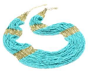 Collier Master, Laiton et perles - Doré et turquoise