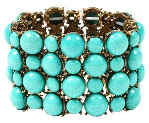 Bracelet élastique Vixen, Laiton - Doré et turquoise