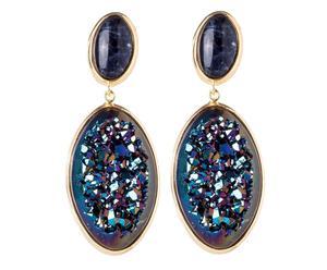 Paire de boucles d'oreilles Sodalite et Cristal semi-précieux, Doré et Bleu – L5