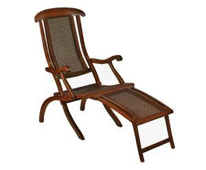 Chaise pliante acajou et rotin, marron foncé - 137*108
