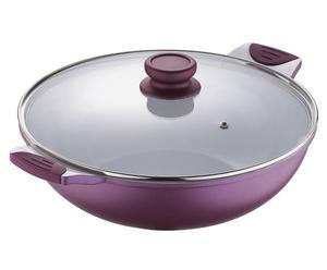 Poêle céramique, violet et blanc - Ø30