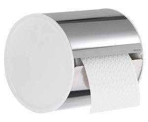 Porte papier toilettes Acier inoxydable et plastique, Argenté inox  - L14