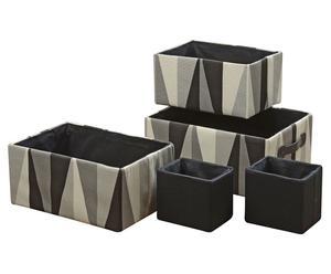 5 Paniers  Coton, Noir gris et Blanc
