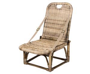 Chaise pliante Rotin et cuir, Brun - H75