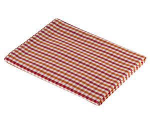 Nappe Vichy Coton, Orange et rouge - 140*140