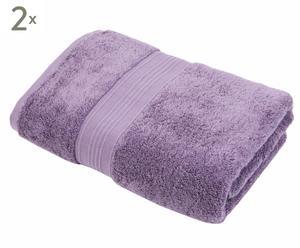 2 Draps de bain Jane, Coton Pima - Mauve